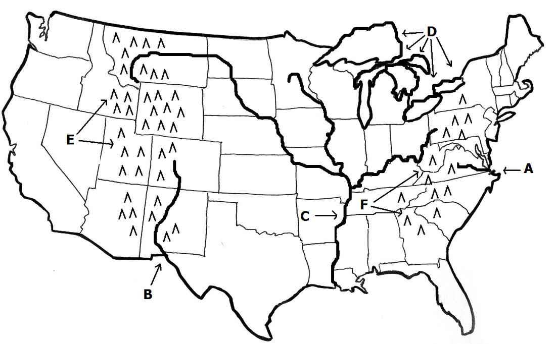 Test Your Geography Knowledge USA States Quiz Lizard Point Best - Labeled us map with mountain range and rivers